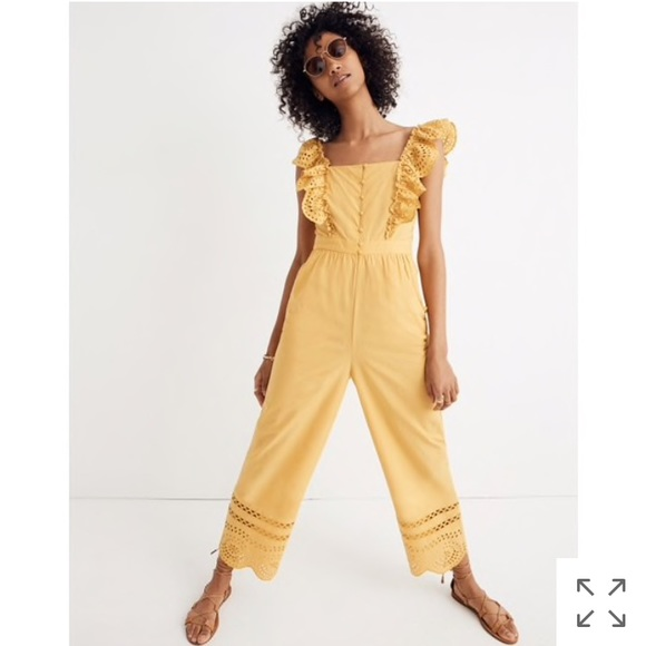 8cf1e1fa724 NEW Madewell eyelet frilled-strap jumpsuit  size 2